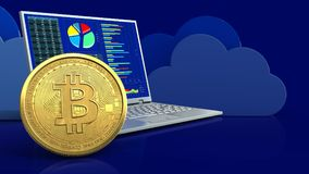 3d bitcoin. 3d illustration of computer over clouds background with bitcoin Royalty Free Stock Photos