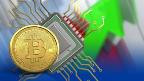 3d bitcoin. 3d illustration of cpu over arrows graph background with bitcoin Royalty Free Stock Image