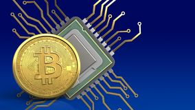 3d bitcoin. 3d illustration of cpu over blue gradient background with bitcoin Royalty Free Stock Photos
