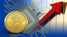 3d bitcoin. 3d illustration of cpu over rising charts background with bitcoin Royalty Free Stock Photos