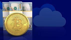 3d bitcoin. 3d illustration of dollar banknotes over clouds background with bitcoin Stock Images