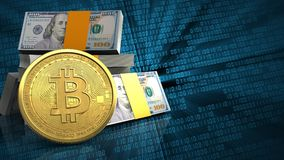 3d bitcoin. 3d illustration of dollars stack over binary background with bitcoin Royalty Free Stock Photo