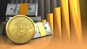 3d bitcoin. 3d illustration of dollars stack over golden charts background with bitcoin Royalty Free Stock Photo