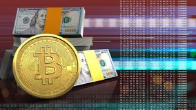 3d bitcoin. 3d illustration of dollars stack over red cyber background with bitcoin Royalty Free Stock Photos