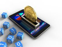 3d bitcoin. 3d illustration of mobile phone over white background with binary cubes and bitcoin Stock Photos