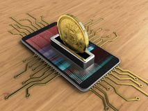 3d bitcoin. 3d illustration of mobile phone over wooden background with electronic circuit and bitcoin Stock Photo