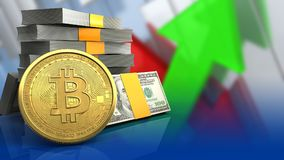 3d bitcoin. 3d illustration of money stack over arrows graph background with bitcoin Stock Photography