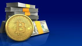 3d bitcoin. 3d illustration of money stack over blue gradient background with bitcoin Royalty Free Stock Images