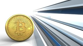 3d bitcoin. 3d illustration of bitcoin over abstract lines background Stock Image