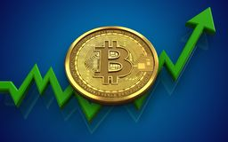 3d bitcoin. 3d illustration of bitcoin over blue background with Stock Photo