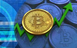 3d bitcoin. 3d illustration of bitcoin over blue coins background with Stock Images