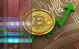 3d bitcoin. 3d illustration of bitcoin over circuit background with Royalty Free Stock Images