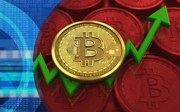 3d bitcoin. 3d illustration of bitcoin over red coins background with Stock Photos