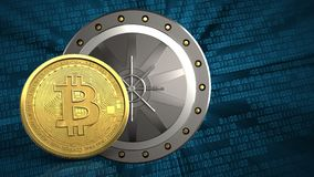 3d bitcoin. 3d illustration of valut door over binary background with bitcoin Royalty Free Stock Photo