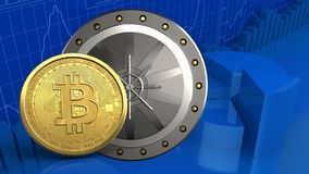 3d bitcoin. 3d illustration of valut door over business charts background with bitcoin Royalty Free Stock Image