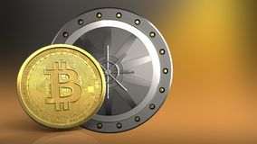3d bitcoin. 3d illustration of valut door over yellow background with bitcoin Stock Photography