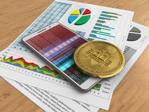 3d bitcoin. 3d illustration of white phone over wooden background with business papers and bitcoin Stock Photo