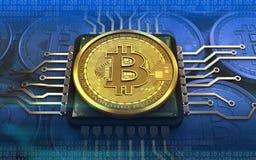 3d bitcoin jednostka centralna Zdjęcia Royalty Free