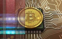 3d bitcoin jednostka centralna Obrazy Stock