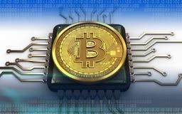 3d bitcoin jednostka centralna Zdjęcie Stock