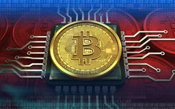 3d bitcoin jednostka centralna ilustracji