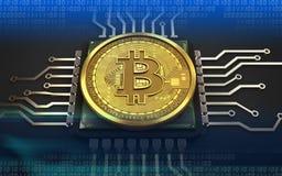 3d bitcoin jednostka centralna Zdjęcia Stock