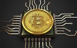 3d bitcoin jednostka centralna Obraz Stock
