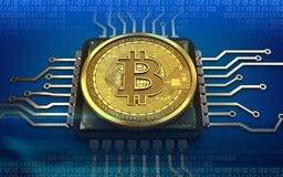 3d bitcoin jednostka centralna Fotografia Royalty Free