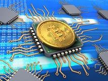 3d bitcoin met bewerkers Stock Foto's