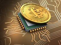 3d bitcoin met cpu Royalty-vrije Stock Foto's