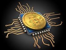 3d bitcoin met cpu Stock Afbeeldingen