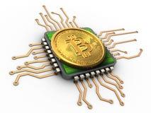 3d bitcoin met cpu Royalty-vrije Stock Fotografie