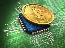 3d bitcoin met cpu royalty-vrije illustratie