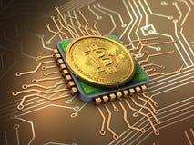3d bitcoin met cpu Stock Afbeelding
