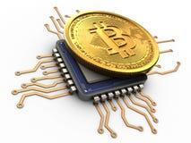3d bitcoin met cpu Royalty-vrije Stock Afbeeldingen