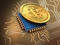3d bitcoin met cpu vector illustratie