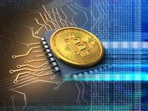 3d bitcoin met cpu-blauw Stock Afbeelding