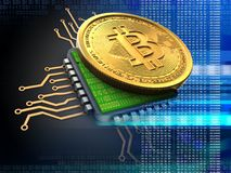 3d bitcoin met cpu-blauw Royalty-vrije Stock Foto