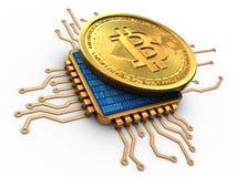 3d bitcoin met cpu-goud Stock Fotografie