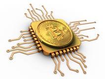3d bitcoin met cpu-goud Royalty-vrije Stock Foto's