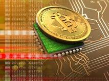 3d bitcoin met cpu-sinaasappel Royalty-vrije Stock Afbeelding