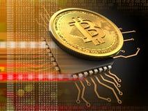 3d bitcoin met cpu-sinaasappel royalty-vrije illustratie