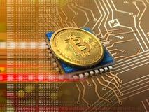 3d bitcoin met cpu-sinaasappel stock illustratie