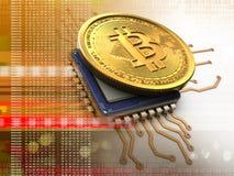 3d bitcoin met cpu-sinaasappel vector illustratie