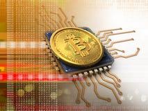 3d bitcoin met cpu-sinaasappel Royalty-vrije Stock Foto
