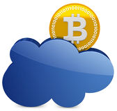 3d bitcoin met de wolk Stock Illustratie
