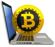 3d bitcoin met laptop computer Vector Illustratie