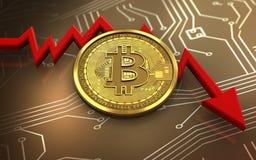 3d bitcoin niepowodzenia diagram royalty ilustracja