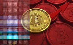 3d bitcoin op pijl Stock Afbeeldingen