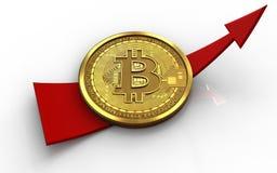 3d bitcoin op pijl Stock Foto's